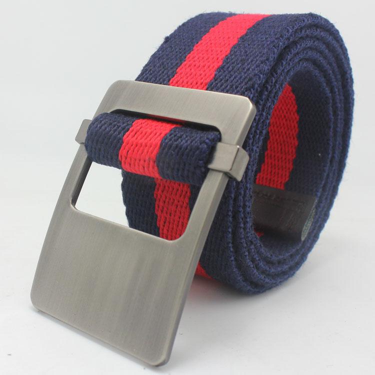 Color stripe canvas belt color block decoration flip buckle casual strap fashion male women designer belts - AiPinky store