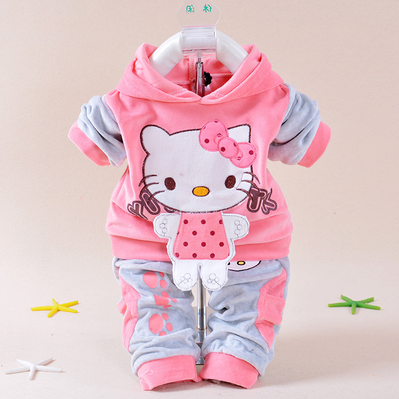 New 2015 Autumn Baby Kids Set Velvet Hello Kitty Cartoon T Shirt Hoodies Pant Twinset Long Sleeve Velour Children Clothing Sets(China (Mainland))