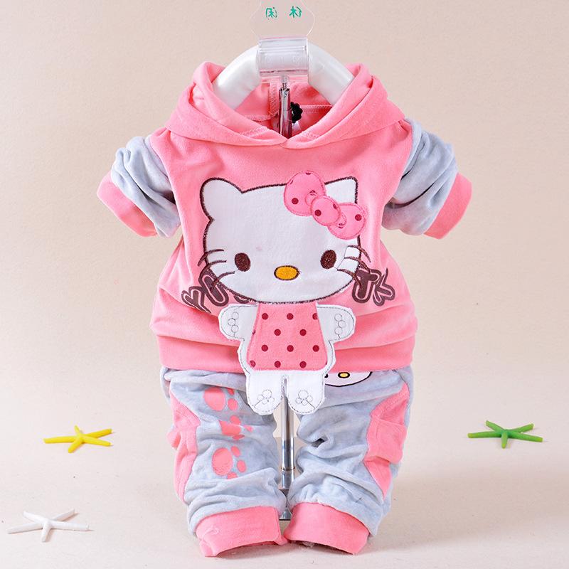 New 2015 Autumn Baby Kids Set Velvet Hello Kitty Cartoon T Shirt Hoodies Pant Twinset Long Sleeve Velour Children Clothing Sets(China (Mainland))