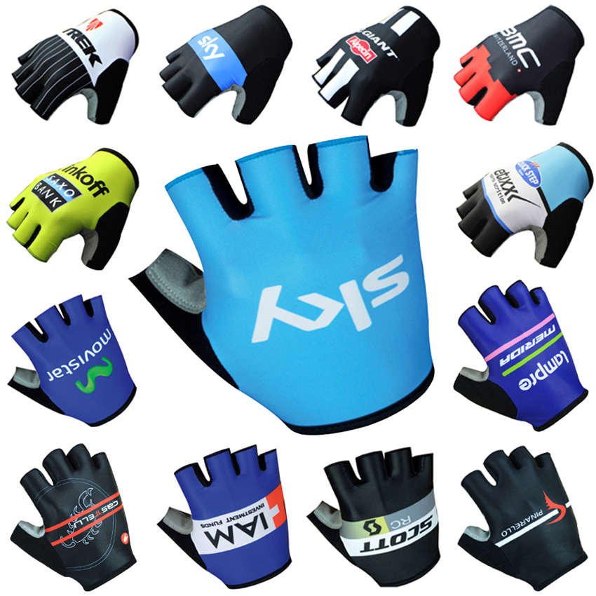 2016 New Arrive High Quality Half Finger Cycling Gloves SKY Blue Red Blue Riding Glove Anti-skid Breathable Free Shipping(China (Mainland))