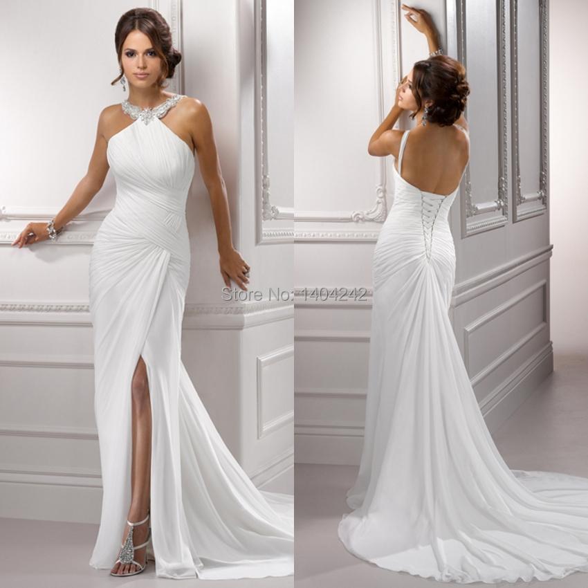 High quality halter neck floor length off the shoulder for Backless sheath wedding dresses