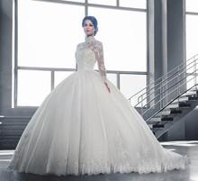 2016 Hot Lace Ball Gown Wedding Dress Plus Size Long Sleeves Muslim Vestido De Noiva High Quality Wedding Dresses Casamento(China (Mainland))