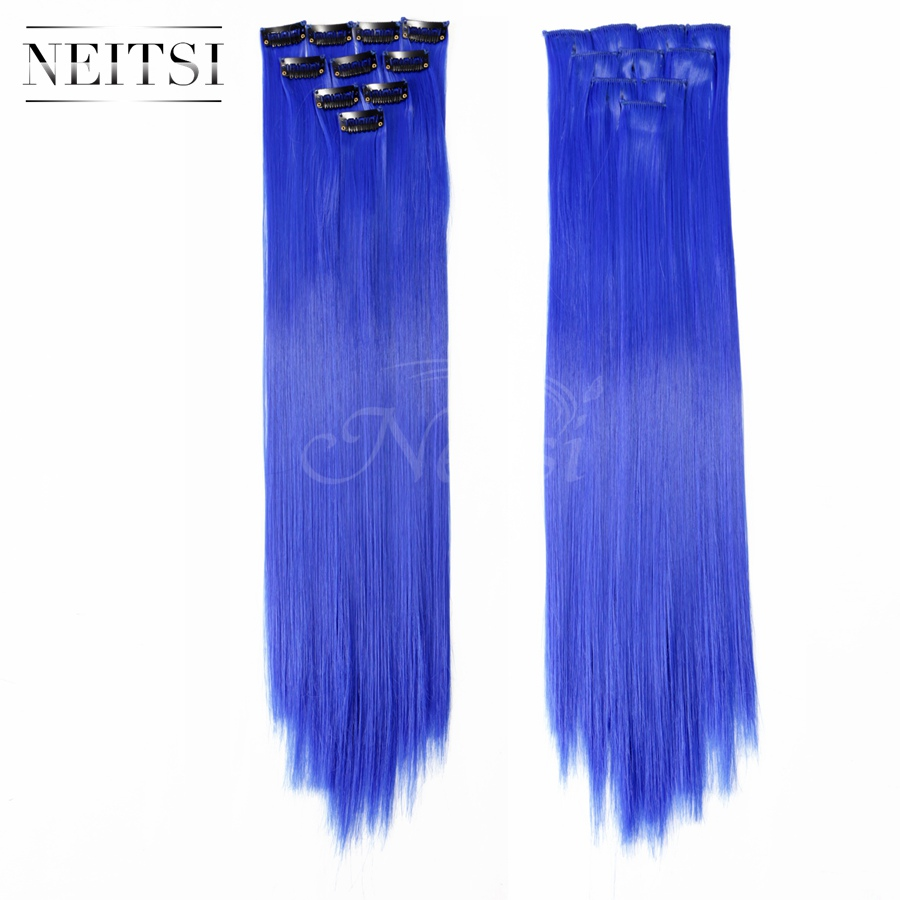 Neitsi 10pcs 18inch Colored Highlight Synthetic Clip on in Hair Extensions #F14 Blue Support US Local Delivery 7 Day Return<br><br>Aliexpress