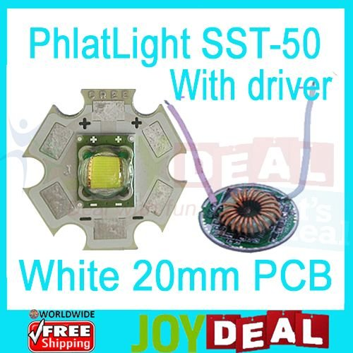 Freeshipping! Cree Luminus PhlatLight SST-50 White Color 1250LM LED Emitter Bead mounted on 20mm Star PCB with DC3-18V Driver(China (Mainland))