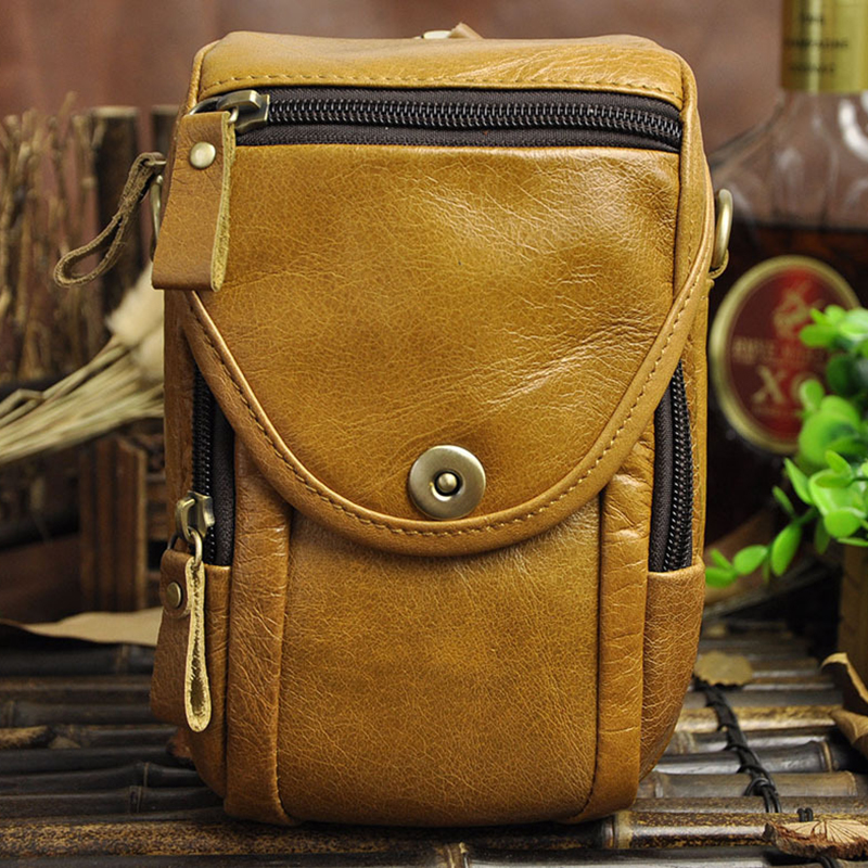 Retro oil wax Vintage Genuine Leather Bags Waist bag Fanny Pack Belt Loops Hip Bum Bag Wallet Purses Phone Pouch for men(China (Mainland))