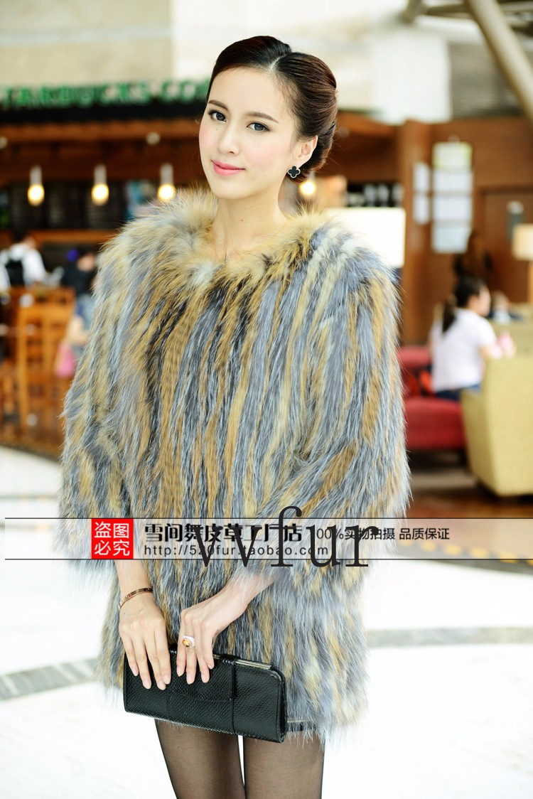 2015 The new high-end custom fox fur raccoon fur knitting hit color knit jacket with real fur lining