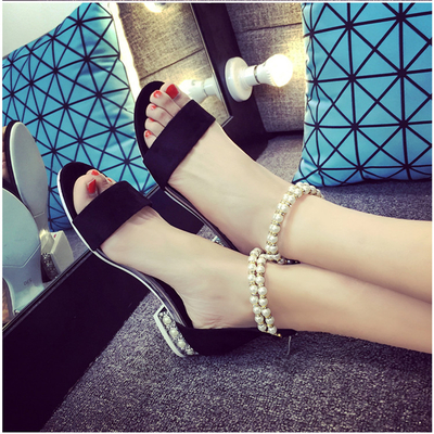 Fashion Designer 2016 Rome Style Summer Women Sandals Woman Flat Heel Shoes Comfortable Pearls Zippers Sandalias Zapatos Mujer
