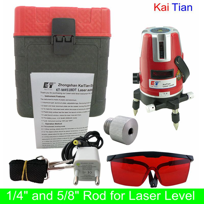 "KaiTian 5 Lines Laser Level 1/4"" and 5/8"" Rod with Tilt Slash Function and Outdoor 360 rotary Euro Plug 635nM Level Laser Tools(China (Mainland))"