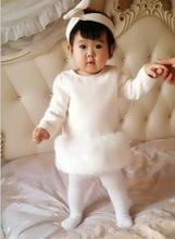 retail baby girl faux fur dress fall winter white luxury evening dress lovely fox fur dress for toddler party(China (Mainland))