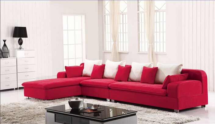 Lizz furniture sectional fabric l shape corner sofa red for L shaped sofa colors