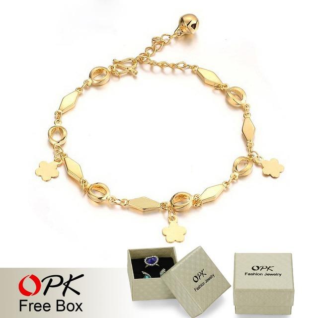 OPK Jewelry Wedding Ornament 18K Gold Plated Bracelet Bridal Charm Bracelets Bell Anti-allergy Free Shipping 156