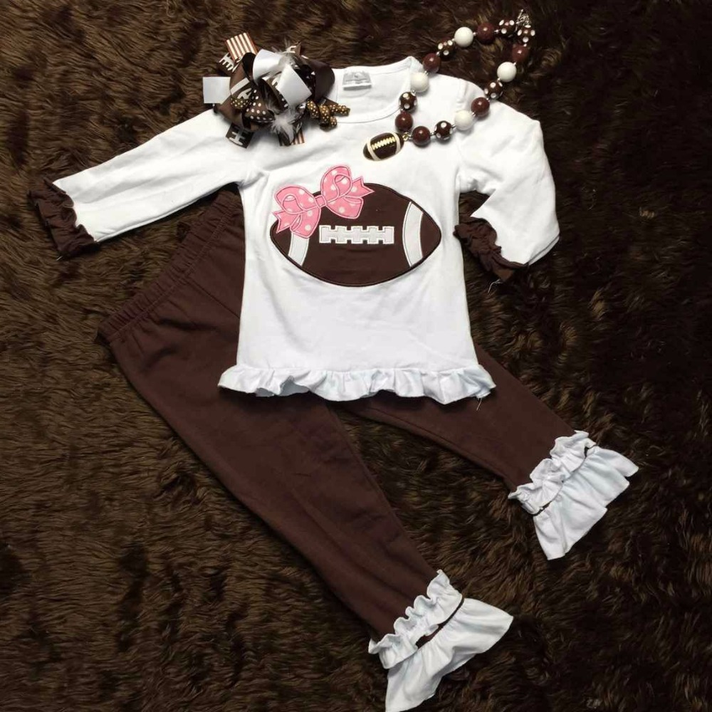 Football clothes Fall suit kids clothing kids suit boutique clothing pant long sleeves with matching headband and necklace set(China (Mainland))