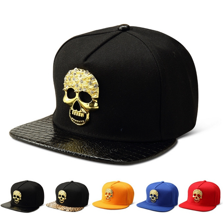 Fashion New Arrival Style Women and Men Hip-hop Hat top quality Baskeball Crystal Setted skull flat Snapback Caps 55-62cm(China (Mainland))