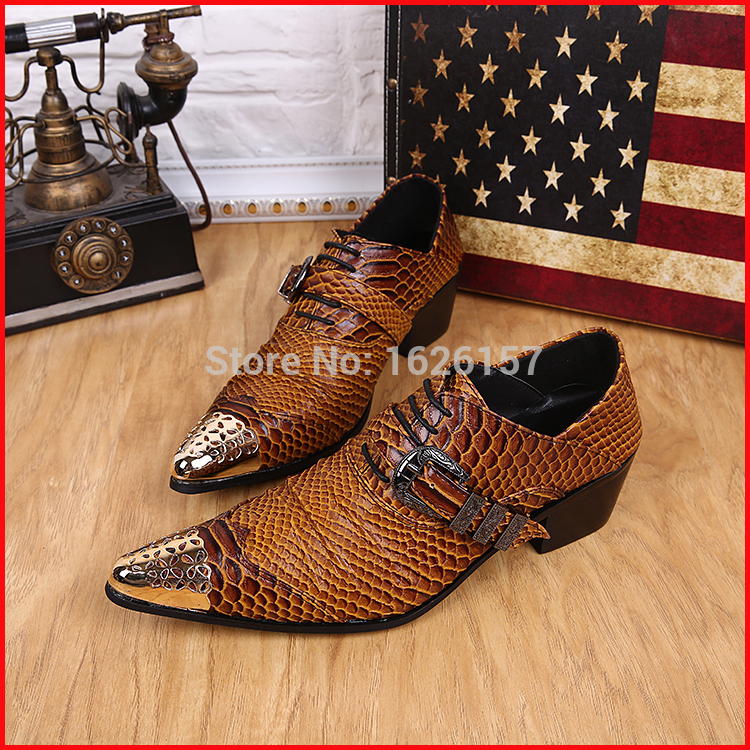 Top Selling Snakeskin Men Genuine Leather Oxfords Buckles Gold Pointed Toe Italian Shoes For Men Classic Oxfords Zapatos Mujer<br><br>Aliexpress