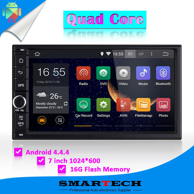 Quad core 7 inch HD 1024 600 screen Android 4 4 4 car stereo radio head