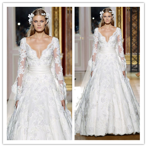 2014 romantic zuhair murad wedding dresses a line white for Zuhair murad wedding dress prices