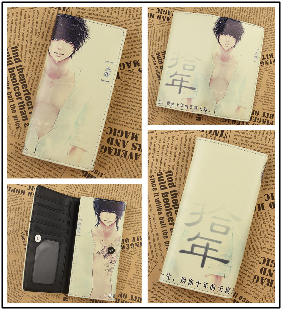 Japanese Anime The Graver Robbers Chronicles ten years Clutch Wallets Purse Multi 18cm Leather YM103(China (Mainland))