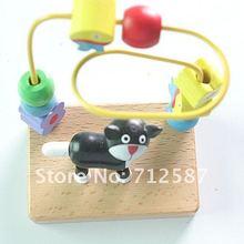 fashion kids boy girls Pretty little cat wooden string bead intelligence toy(China (Mainland))