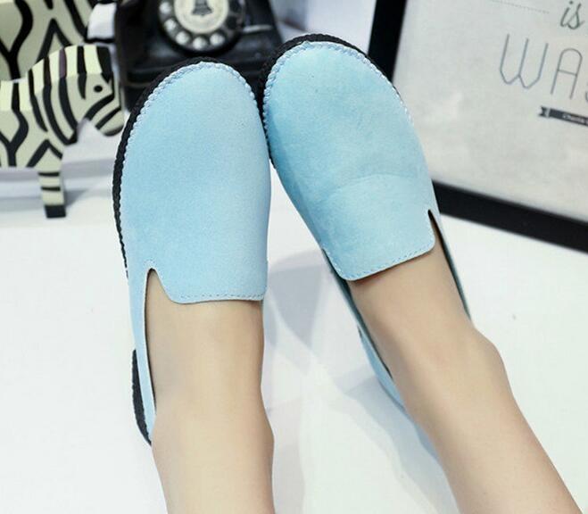 ซื้อ จัดส่งฟรีผู้หญิงรองเท้าฤดูใบไม้ผลิฤดูใบไม้ร่วงฤดูหนาว2016ยุโรปขาเหยียบมัฟฟินลื่นรองเท้าแบนสีฟ้า