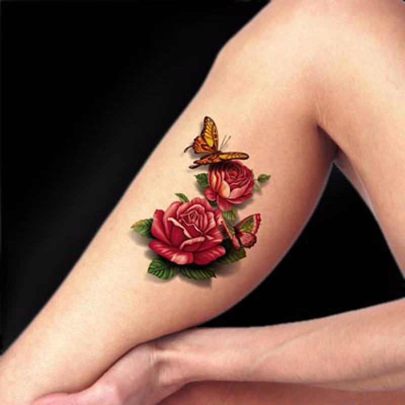 1PCS Waterproof Temporary Tattoo Sticker for Body 3D Rose Fake Body Tattoo Stickers Flash Tattoo Tatuajes Dorados Sex Products(China (Mainland))