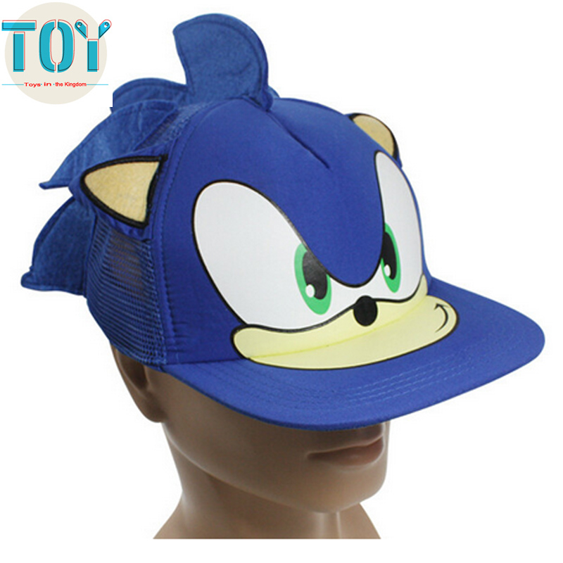 New 1 PCS Blue Sonic The Hedgehog Adjustable Baseball Cap Cartoon Adult Cosplay Hat Perimeter 55cm Free Track Code(China (Mainland))