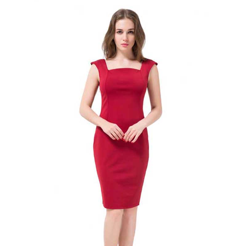 Free Shipping Plus Size Women Dress 2016 Summer Square Collar Red Black Casual Dress Knee-Length Sleeveless Dresses Vestidos(China (Mainland))