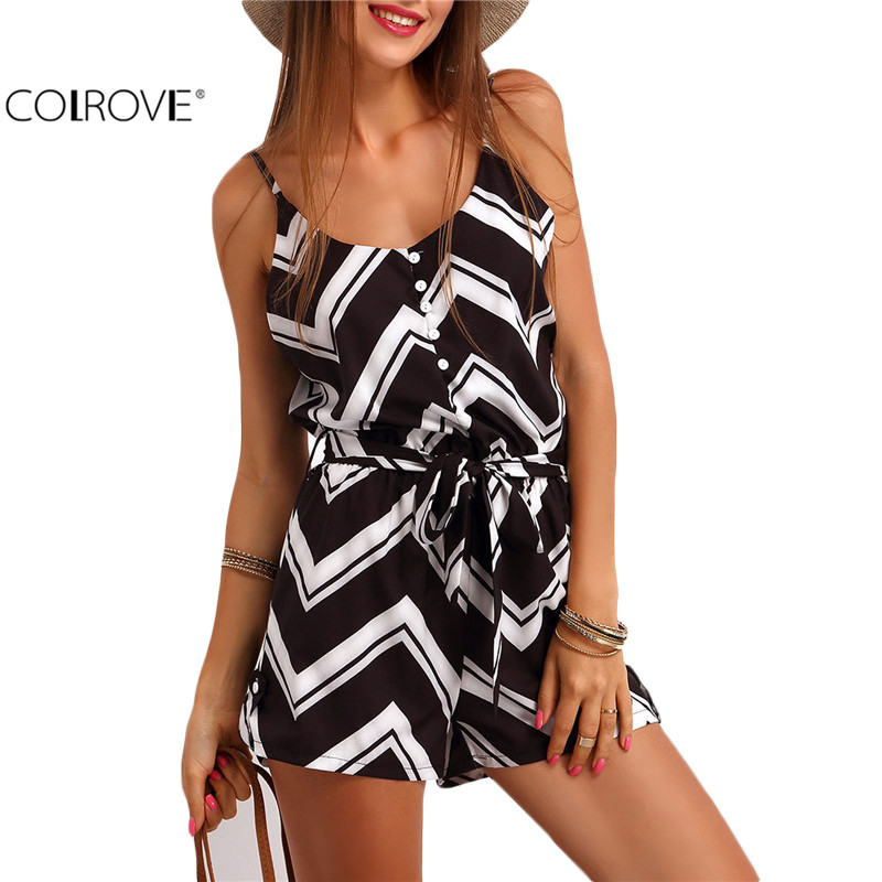 COLROVE Casual Summer Women Romper Spaghetti Strap Zig Print Jumpsuit New Arrivals Sleeveless Buttons Belt Rompers(China (Mainland))