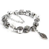 DGW Free Shipping Fashion Alloy Beads leaf Charm Bracelets & Bangles Fit Bracelets for Women sterling silver jewelry