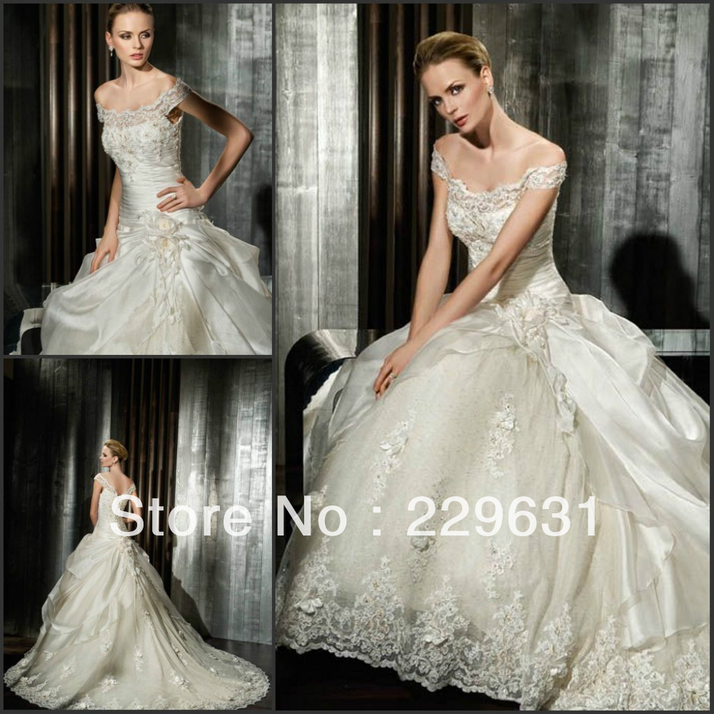 Delicate beade lace silk satin ball gown corset off for Off the shoulder satin wedding dress