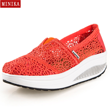 New 2016 Summer Hollow Lace Breathable Massage Female Platform Shoes Casual Women's Shoes Fashion Women Wedge Zapatos Mujer(China (Mainland))