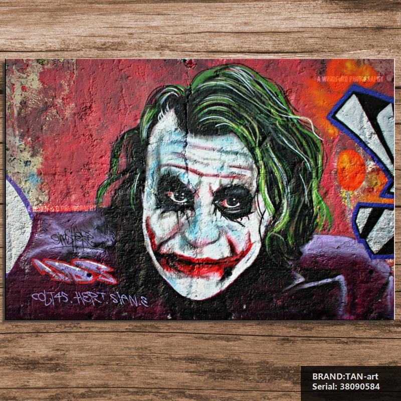 A clown Movie Modern oil Painting Drawing art Spray Unframed Canvas gemstone hologram wax realistic technical children38090584(China (Mainland))