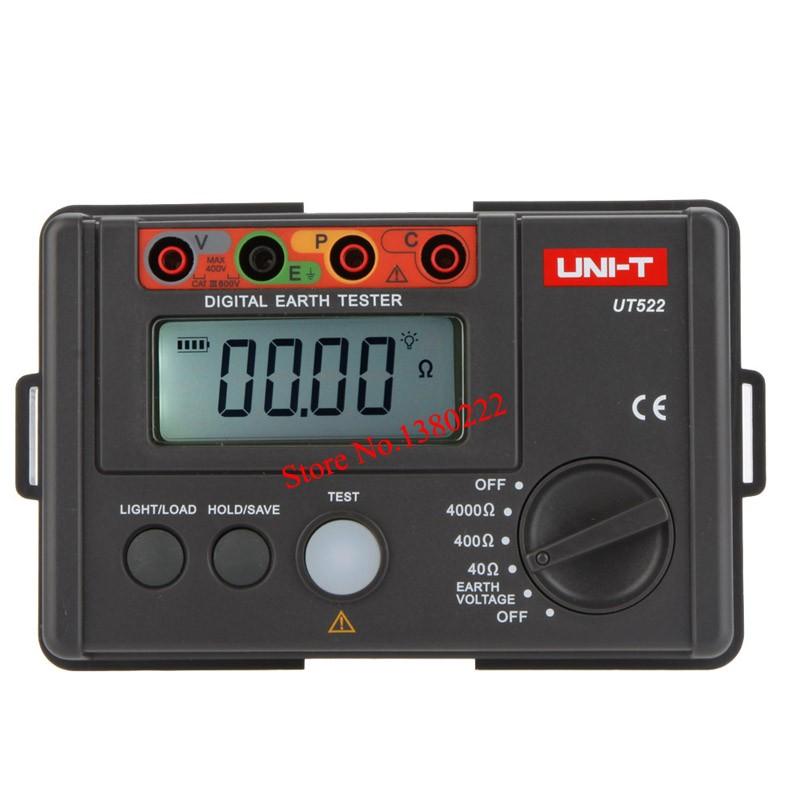 Купить ЖК-ДИСПЛЕЙ Высокой Точности Цифровой Тестер Сопротивления Земли Цифровой Дисплей 0-400 В 0-4000 ом Сопротивление Заземления UNI-T UT522