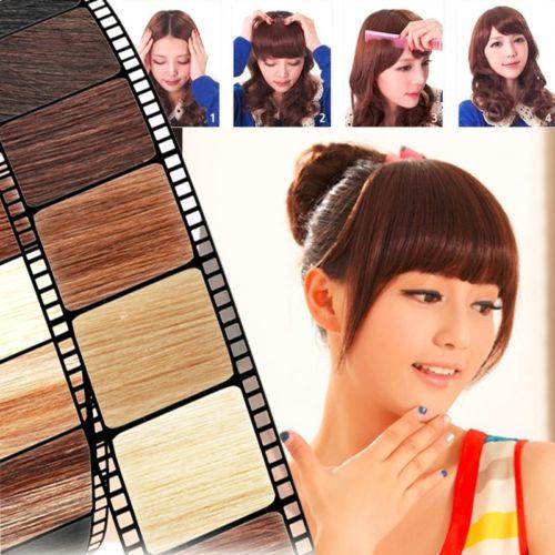 Front Neat Bangs Hair Bangs Extension Clip In Hair Bangs Synthetic Hair Fringe 12 Colors Mega Hair(China (Mainland))