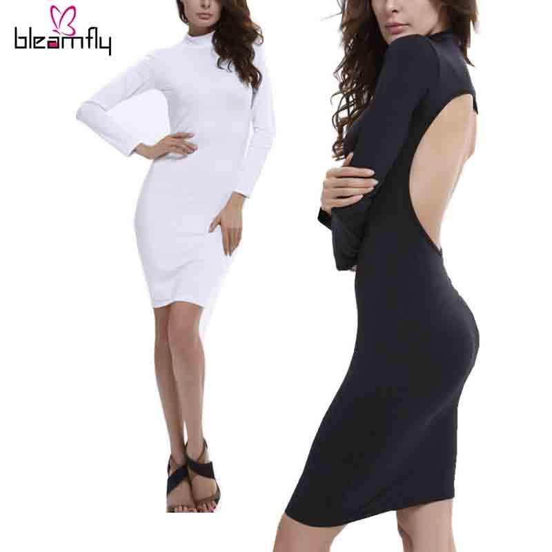 2016 Sexy Cub Backless Dress Casual Bodycon Pencil Slim Women Long Sleeve Short Black White Party Dresses tunique femme Clothes(China (Mainland))
