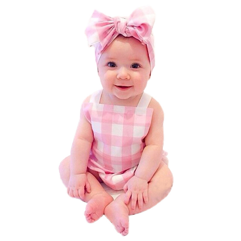 Baby Girls Boys Romper & Headbands Infant Baby Girl Clothes Unisex Newborn Clothes Plaid Sleeveless Baby Rompers Suit CF377(China (Mainland))