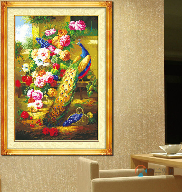 Здесь можно купить  Kit for Needlework,DIY Cross stitch,silk Embroidery kit,peony flower floral bird peacock pattern Cross-Stitch animal painting  Дом и Сад