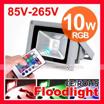 Free Shipping 10W,20W,30W,50W,70W,100W 16 Color RGB Flood Light Waterproof IP65 AC85-265V  LED Floodlight Outdoor Lamp
