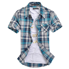 12 color Korea style New short sleeve men shirts Cotton men plaid shirts male high quality casual slim fit  shirt men