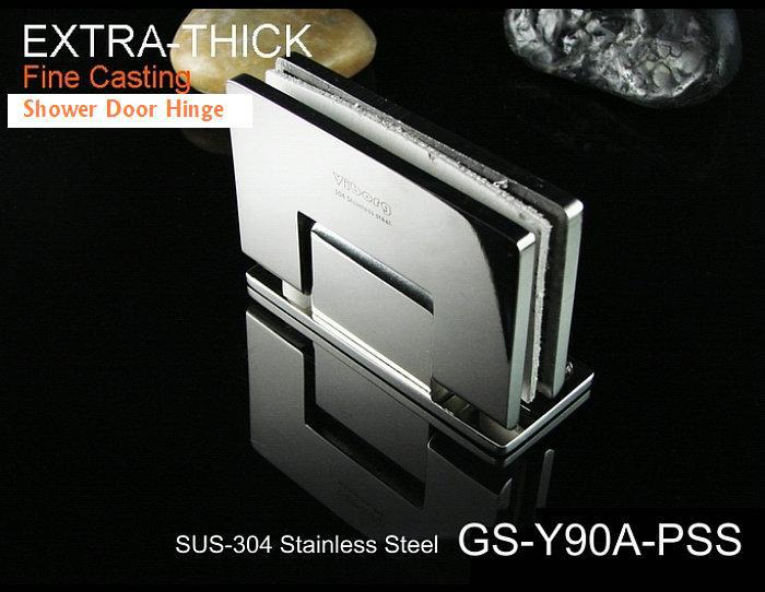 (1 pair) VIBORG SUS304 Stainless Steel Wall-mount Shower Door Hinge, Wall-to-Glass Shower Door Hinge,Satin Nickel, GS-Y90A-SS(China (Mainland))