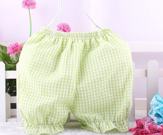 2015Summer Baby Boy Girl Bloomers Seersucker Cotton Lace Boxer Shorts Baby Ruffle Panties for 6-18M(China (Mainland))