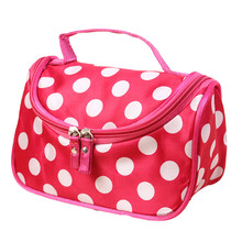 Attractive 2016 HOT !! 4 Colors Polka Dot Flip Double Zipper Multi Functional PolyesterCosmetic Bag Shipping J6 - IUNeed Business Co.,Ltd. store