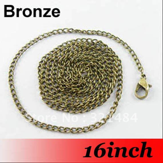 Free Ship! 100PCS 3mm 16'' Antique bronze Metal Jewelry Link Curb Chain Necklace With Lobster clasp For Pendant(China (Mainland))