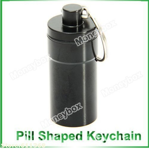 Free Fhipping 5pcs/lot Portable WaterProof Pill Cache Drug Holder Bottle Holders With KeyChain