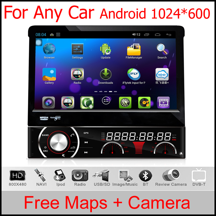 """7"""" Capacitive Detachable panel Single Din Car DVD GPS One Din Car Radio 1 Din Car PC with Android 4.1.1 OS & 1024*600 Resolution(China (Mainland))"""