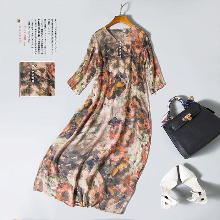 Women silk LONG dress Print dress 100% Natural silk MAXI dress chiffon dress 2016 Spring new SALE