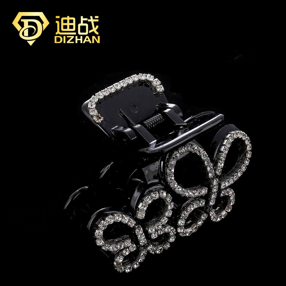 Women Lady black Double butterfly Crystal Rhinestone Claw Hair Clip Barrette Hairpin Hairwear Clamp Hair Accessories SF607(China (Mainland))