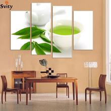 Buy Wall Art 4 Piece Canvas Kitchen Modern Wall Green Tea Painting Home Art Picture Paint Canvas Prints Decor Cuadros De Lienzo for $27.45 in AliExpress store