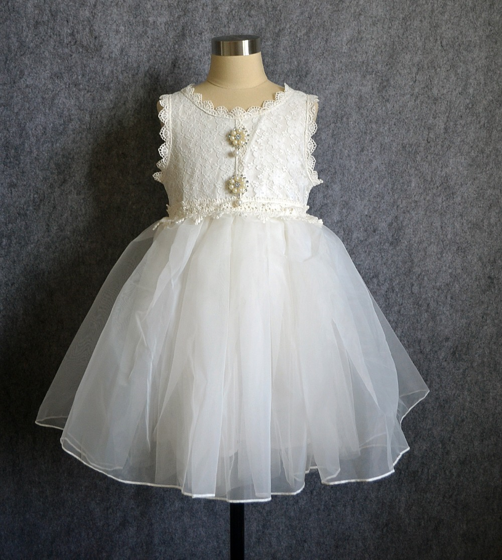 white flower girl tulle Dresses for wedding summer girl lace dress with pearl Brooch designer children clothing(China (Mainland))