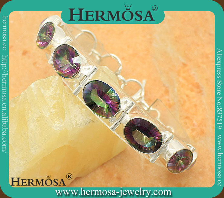 HOT SALE 925 Sterling Silver  Rainbow Mystic Fire Topaz Charm Bracelet Trend Products 8.25