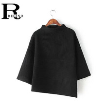 Regino Fashion Novelty Autumn 2015 Women Sweater Hot Sale Knitwear Tops Clothing Solid Asymmetrical Casual Pullovers(China (Mainland))
